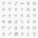 Outline web icon set - Party, Birthday, Holidays Stock Images