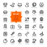 Outline web icon set - pet, vet, pet shop, types of pets stock illustration