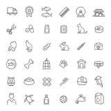 Outline web icon set - pet, vet, pet shop, types of pets Royalty Free Stock Photo