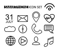 Outline Web Icon Set for Smartphone, Smart Watch, Web, Internet. Vector Design Objects. Line Buttons. Royalty Free Stock Images