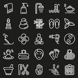 Outline web icon set - Spa, Beauty. Vector illustration on black background Royalty Free Stock Images
