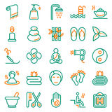 Outline web icon set - Spa, Beauty. Vector illustration on white background Royalty Free Stock Photos