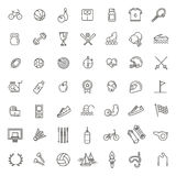 Outline web icon set - sport and fitness Stock Images