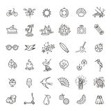 Outline web icon set - summer, vacation, beach Royalty Free Stock Images
