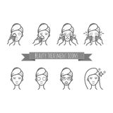 Outline web icons - beauty treatment, face care, mask Stock Images