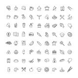 Outline web icons - fruits, food, seafood Royalty Free Stock Photo