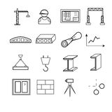 Outline web icons set - building, construction and design tools. Vector illustration Royalty Free Stock Photography