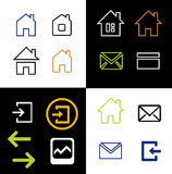 Outline web icons set - house, letter,. Outline web icons set - house letter sign arrow email. Vector Minimalism. on white and black background royalty free illustration
