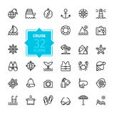 Outline web icons set - journey, vacation, cruise Royalty Free Stock Photos