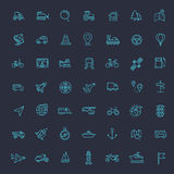 Outline web icons set - navigation, location, transportation. Vector line icons set - navigation, location and transportation Stock Images