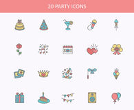 Outline web icons set - Party, Birthday, Holidays Royalty Free Stock Photos