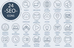 Outline web icons set - Search Engine Optimization Royalty Free Stock Images