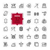 Outline web icons set - sewing equipment and needlework. Thin lines trendy icon collection - sewing equipment and needlework. Vector, isolated on white Royalty Free Stock Image