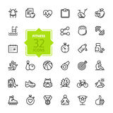 Outline web icons set - sport and fitness royalty free illustration