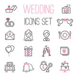 Outline wedding day black and pink marriage icons set of icons for engagement get married love and romantic event bride Royalty Free Stock Images