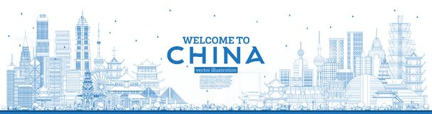 Outline Welcome to China Skyline with Blue Buildings. Famous Landmarks in China vector illustration