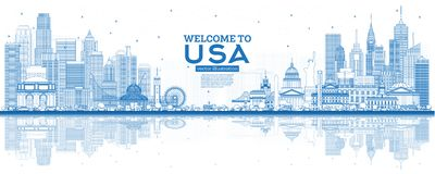 Outline Welcome to USA Skyline with Blue Buildings and Reflections stock illustration