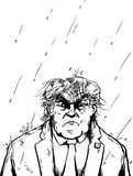 Outline of Wet Trump in Thunderstorm Royalty Free Stock Images