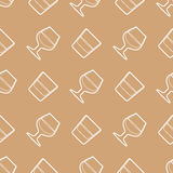 Outline whiskey cognac glasses seamless pattern Stock Image