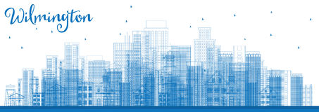 Outline Wilmington Skyline with Blue Buildings. Stock Image