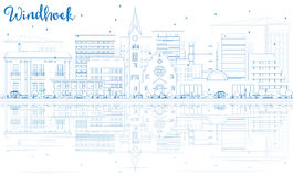 Outline Windhoek Skyline with Blue Buildings and Reflections. Royalty Free Stock Images