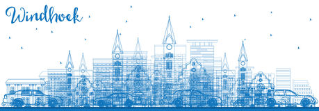 Outline Windhoek Skyline with Blue Buildings. Royalty Free Stock Photo