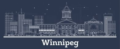 Outline Winnipeg Canada City Skyline with White Buildings. Vector Illustration. Business Travel and Concept with Modern Architecture. Winnipeg Cityscape with vector illustration