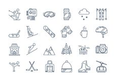 Outline WINTER SPORT icons set. Vector set of 24 linear outline icons. Winter rest, sports, tourism and outdoor activities. Snowboard, skier, figure skating Royalty Free Stock Photos