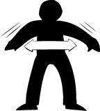 Outline of Wobbling Figure. Black outline of person in balance with arrows Stock Photos