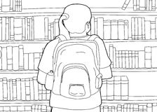 Outline of Woman with Backpack at Library Stock Photos