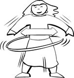 Outline of Woman in Hula Hoop Royalty Free Stock Images