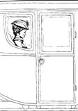 Outline of woman seated in fancy 18th century carriage Royalty Free Stock Photo