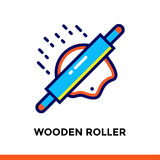 Outline WOODEN ROLLER icon. Vector pictogram suitable for print, website and presentation Stock Image