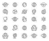 Outline world globes icons set Royalty Free Stock Images
