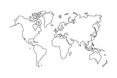 Outline of world map on white background Royalty Free Stock Photos
