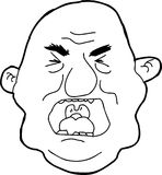 Outline of Yelling Man. Hand drawn outline cartoon of angry man yelling Royalty Free Stock Photo