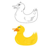 Outline and yellow duckling royalty free stock photography