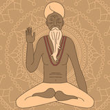 Outline yoga meditating sadhu, logo asia hinduism monk, india religious man character Royalty Free Stock Photography