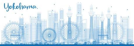 Outline Yokohama Skyline with Blue Buildings. Stock Photos