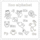 Outline zoo alphabet to be colored Stock Photography