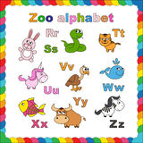 Outline zoo alphabet to be colored Royalty Free Stock Image