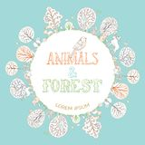 Outlined animals and forest background. Royalty Free Stock Photography