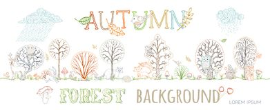 Vector autumn forest background. Royalty Free Stock Photo