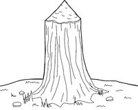 Outlined Bitten Tree Stock Image