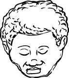 Outlined Black man with closed eyes. Outlined  head of mature African American man with eyes closed Stock Images