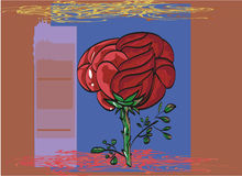 Outlined by a black outline painted red rose greeting card. Royalty Free Stock Images