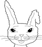 Outlined Bunny with Bent Ear Stock Photos