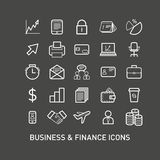 Outlined Business and Finance Icon Set Stock Images