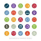 Outlined Business and Finance Icon Set Stock Photo