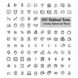 Outlined Business and Finance Icon Set. Collection Stock Photography